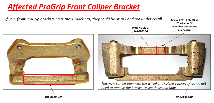 Front Bracket Affected Recall