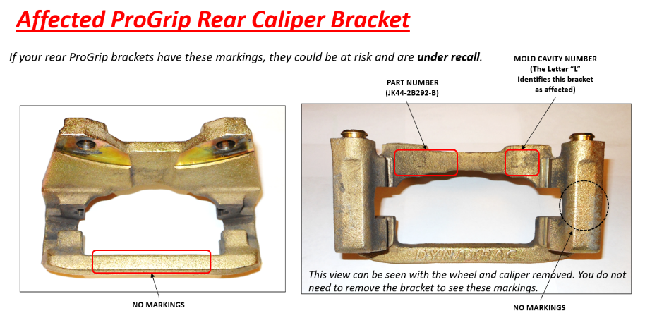 Rear Bracket NOT Affected by Recall