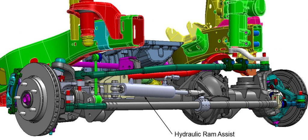 Typical-hydraulic-ram-assist-steering-cylinder-installation